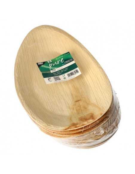 Bandejas ovales de hoja de palma compostables Pure 32 x 18 x 3 cm