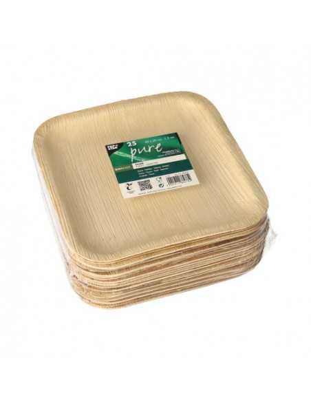 Platos hoja de palma compostables cuadrados Pure 20 x 20cm