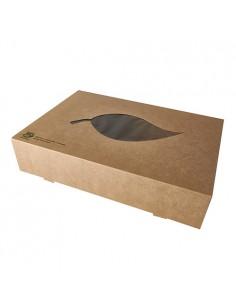 Cajas catering cartón marrón con ventana PLA Pure 100% Fair