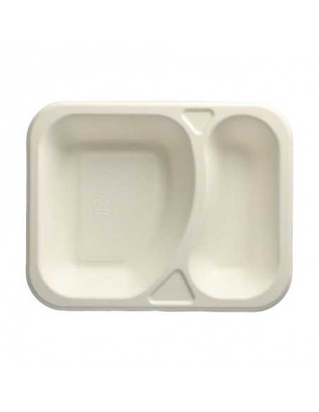 Bandeja Menú Termosellables Caña de Azúcar Blanco 2 Compartimentos 18,5 x 23,5 cm Pure