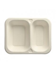 100 Bandejas Termosellable Caña de Azúcar Blanco 2 Compartimentos 18,5 x 23,5 cm Pure