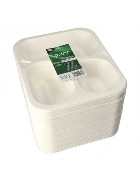 Bandejas menú termosellables caña azúcar 3 comp. 925ml Pure