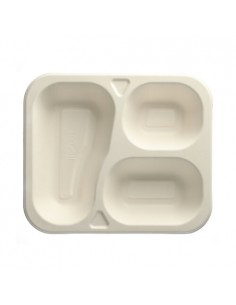 100 Bandejas Termosellables Caña de Azúcar Blanco 3 compartimentos 21,2 x 25 cm Pure