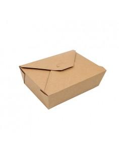 Cajas comida para llevar cartón marrón con tapa integrada 2000ml Pure