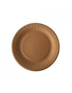 Platos de cartón marrón compostables redondos Pure Ø 19cm