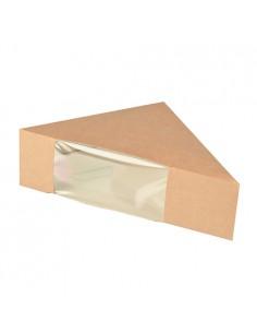 Cajas para sandwich cartón marrón con ventana bioplástico transparente
