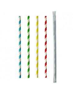 Cañitas de papel enfundadas individualmente rayas colores Ø 6 mm x 20 cm Pure