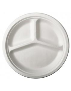 Platos caña de azúcar blancos 3 Compartimentos Ø 26 cm Pure