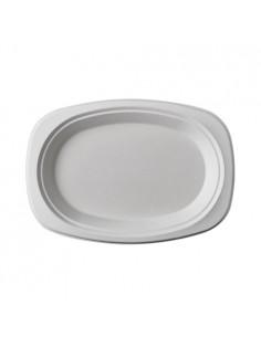 Platos de Caña de Azúcar Blancos Ovales 23 x16 cm Pure