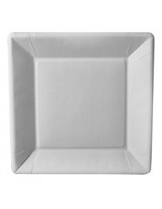 Platos Cuadrados Cartón Fibra Fresca Blancos 22,5 x 22,5cm Pure
