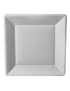 Platos de cartón cuadrados compostables color blanco 22,5 x 22,5cm Pure