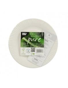 Platos cartón compostables blanco redondos Pure Ø 19cm