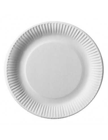 Platos redondos cartón blanco compostables Ø 23 cm Pure
