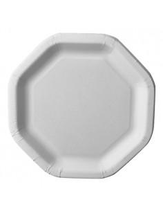 Platos hexagonales de cartón blanco 23,5 x 23,5 cm Pure