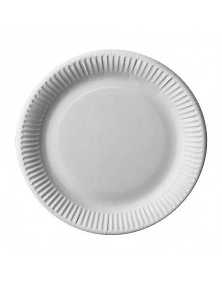 Platos redondos cartón fibra fresca color blanco Pure Ø 23 cm