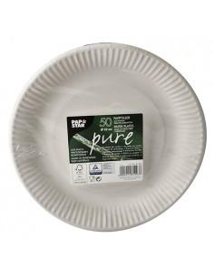 Platos redondos cartón fibra frsca color blanco Ø 23 cm Pure