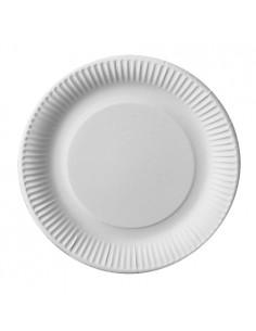 Platos Redondos de Cartón Fibra Fresca Pure Color Blanco Ø 23 cm