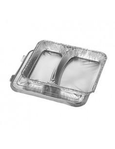 Bandejas Aluminio Con Tapa con 2 Compartimentos 830 ml