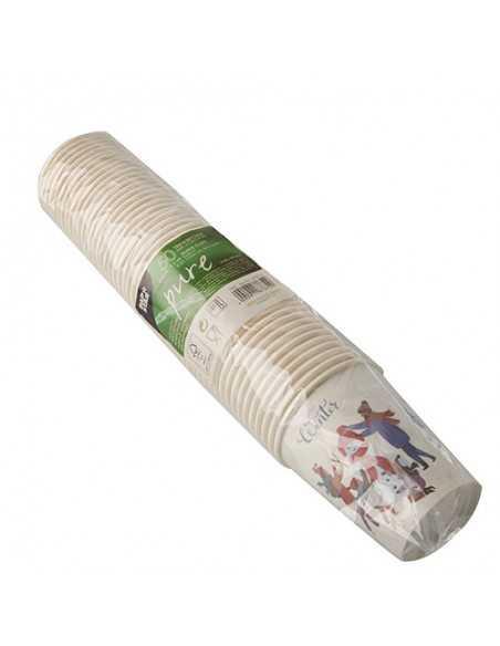 Vasos de cartón blanco decoración invernal Pure 200ml
