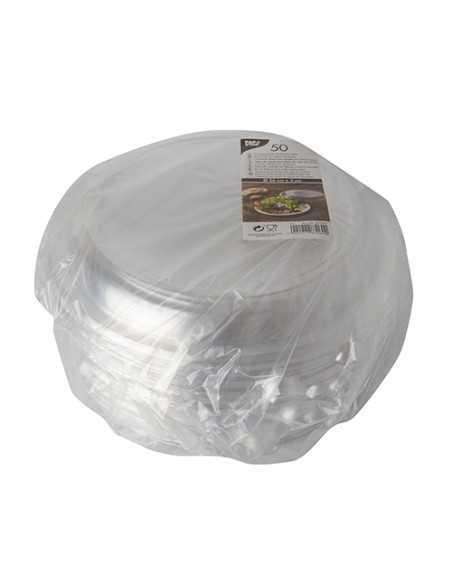 Tapas cúpula redondas plástico PET reciclable transparente Ø 26 x 3cm