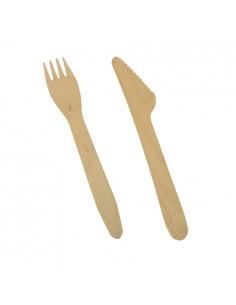 Couverts en bois Pure 16,5 cm couteaux et fourchettes