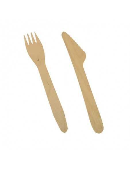 Tenedores y cuchillos madera natural Pure de 16,5cm