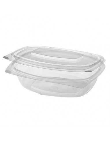 Envases Con Tapa Bisagra Bio Plastico PLA Transparente 1000 ml Pure