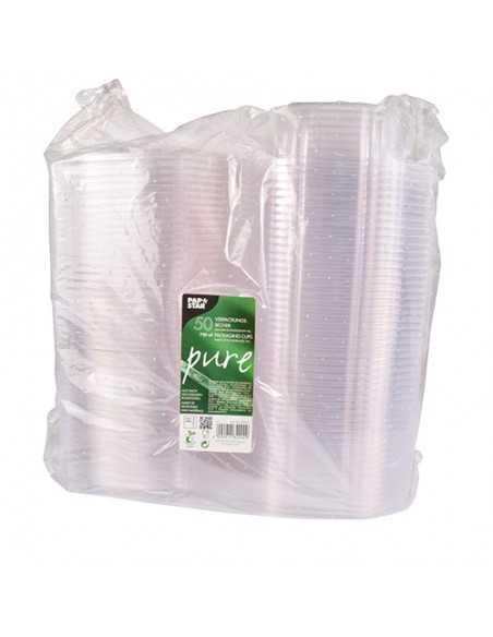 Envases Tapa Bisagra Bio Plastico PLA Transparente 750ml Pure