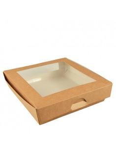 Cajas Carton Marrón Con Ventana PLA 1500 ml Pure