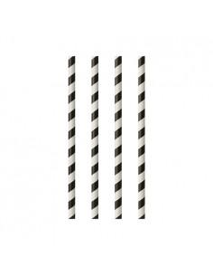 Cañitas de papel rayas blanco negro Ø 6mm x 20cm
