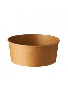 Envases ensalada cartón marrón revestido PLA redondos 750 ml Pure