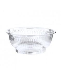 Boles ensalada plástico reciclado transparente redondos 1000 ml