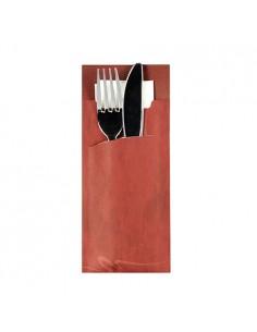 Fundas papel para cubiertos color burdeos incluye servilleta