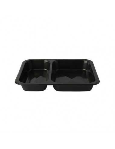 Envases Microondables Take Away Pástico Negro 2 Comp. 866 ml