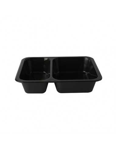 Envases Microondables Take Away 2 Comp. Plástico Negro 1205 ml