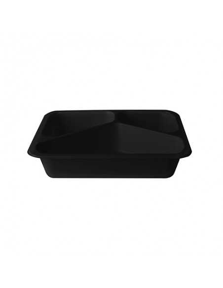 Envases Microondables Take Away 3 Comp. Plástico Negro 1095 ml