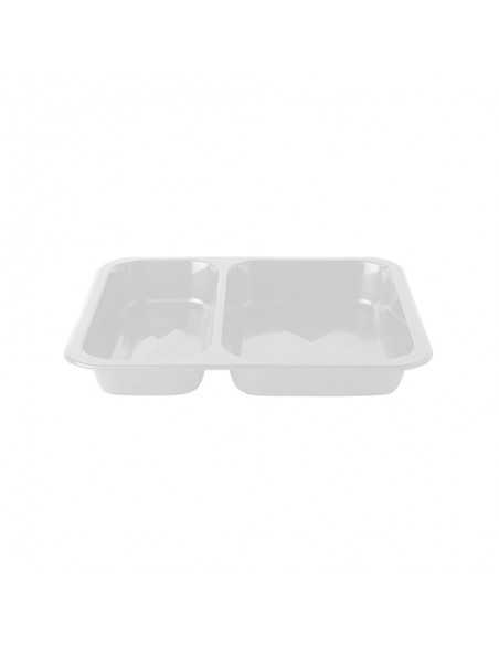 Envases Microondables Take Away 2 Comp. Plástico Blanco 866 ml