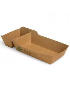 Bandejas para fritos cartón marrón 2 compartimentos Pure 12x7 cm