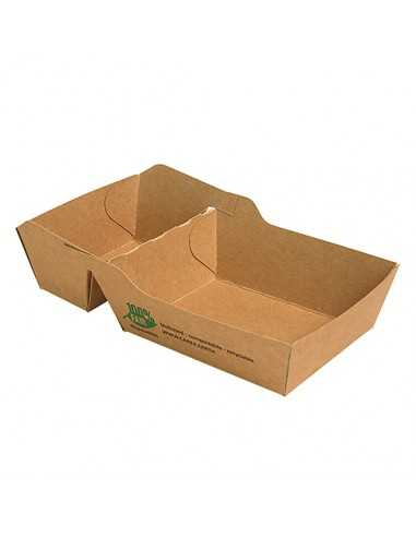 Bandejas para fritos cartón marrón 2 compartimentos Pure 9 x16 cm