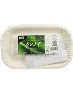 Bandejas aperitivo cartón blanco Pure 15 x 23 x 2cm