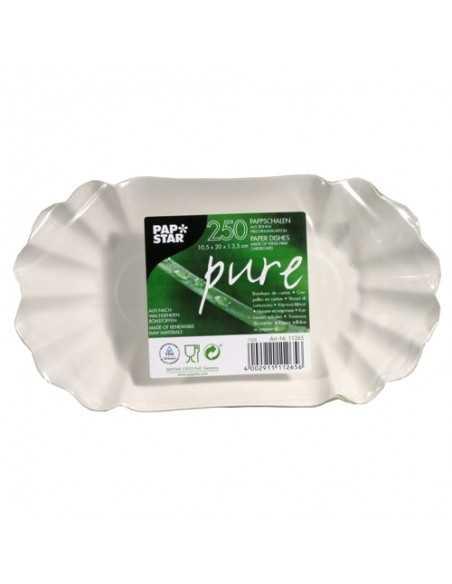 Bandejas Ovaladas Cartón Fibra Fresca Color Blanco 10,5 x 20 cm Pure