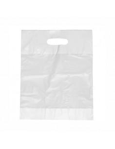 Bolsas de plástico reciclado con asa color blanco 44 x 36 x 9 cm