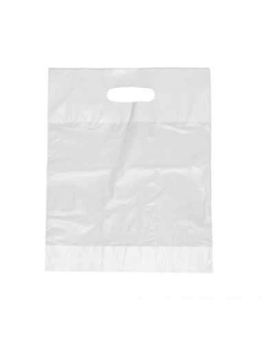 Bolsas de plástico con asa comercios color blanco 44 x 36 x 9 cm