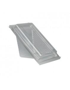 Envases para sandwich bioplástico transparente con tapa bisagra mediano Pure