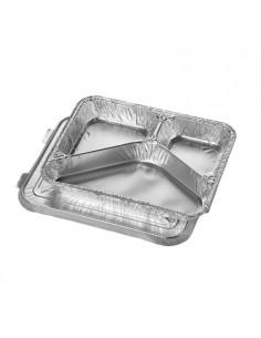 Bandejas Menu en Aluminio Con Tapa 3 Compartimentos 17,7 x 22,5 x 3 cm