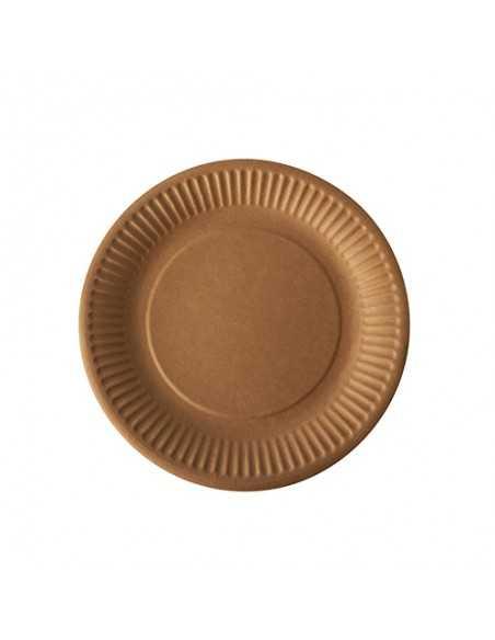 Platos cartón redondos marrón natural Pure Ø 19 cm