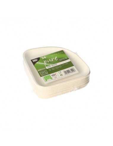 Platos caña de azúcar blancos triangulares 13 x 13 cm Pure Belle Vie