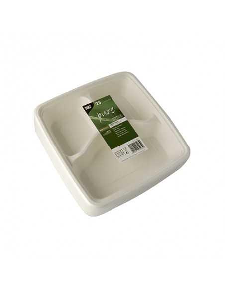 Bandejas menú caña azúcar cuadrada color blanco 3 Comp. Pure
