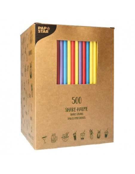 Cañitas de colores papel para batidos Ø 8 x 25 cm Pure