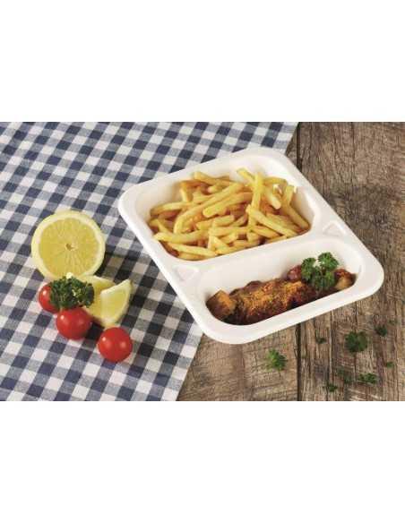 Bandejas menú termosellables compostables caña azúcar 2 comp. 1250 ml Pure